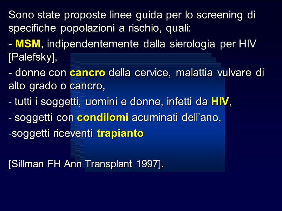 - MSM, indipendentemente dalla sierologia per HIV [Palefsky],